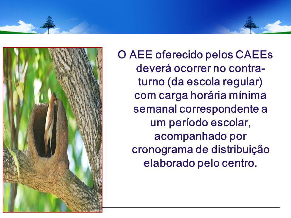 O AEE oferecido pelos CAEEs deverá ocorrer no contra-turno (da escola regular) com carga horária mínima semanal correspondente a um período escolar, acompanhado por cronograma de distribuição elaborado pelo centro.