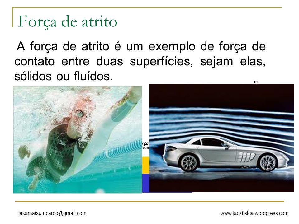 Força de atrito A força de atrito é um exemplo de força de contato entre duas superfícies, sejam elas, sólidos ou fluídos.