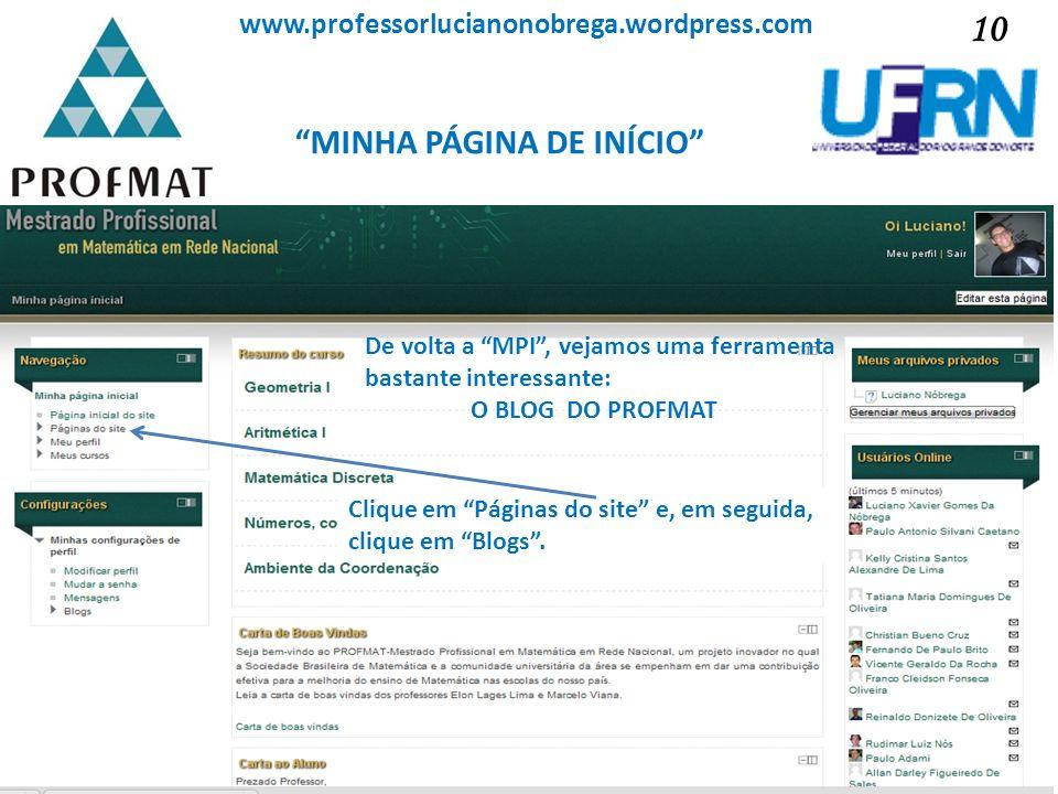 MINHA PÁGINA DE INÍCIO