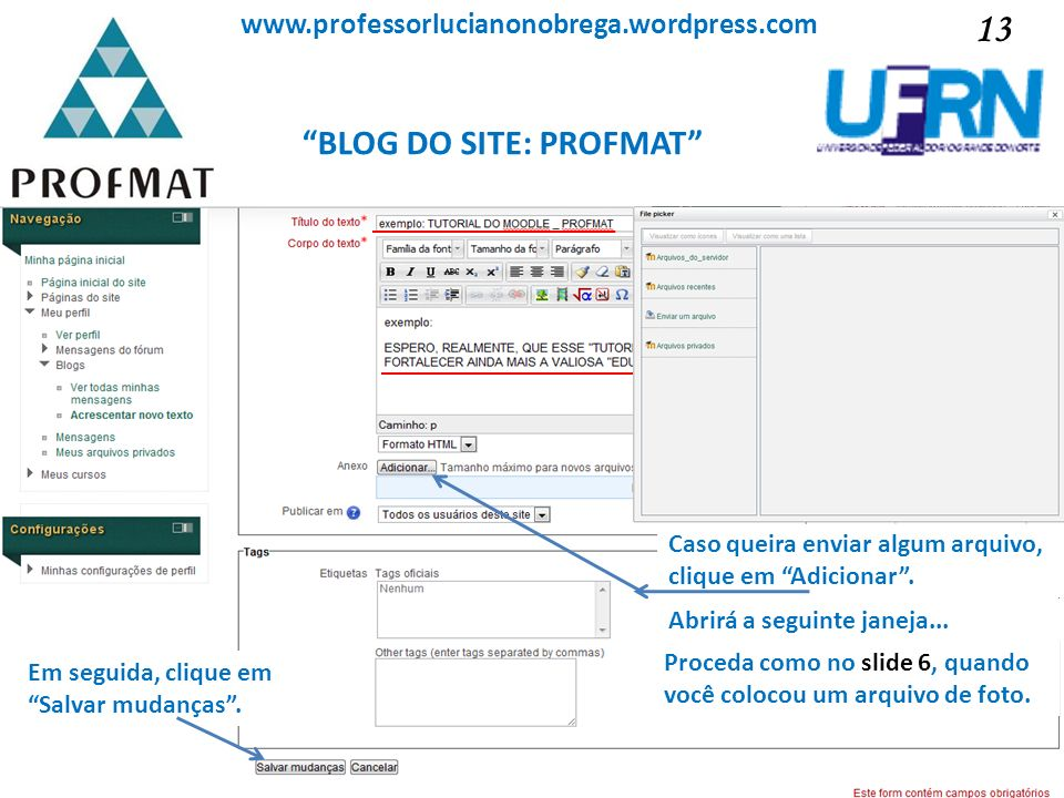 BLOG DO SITE: PROFMAT