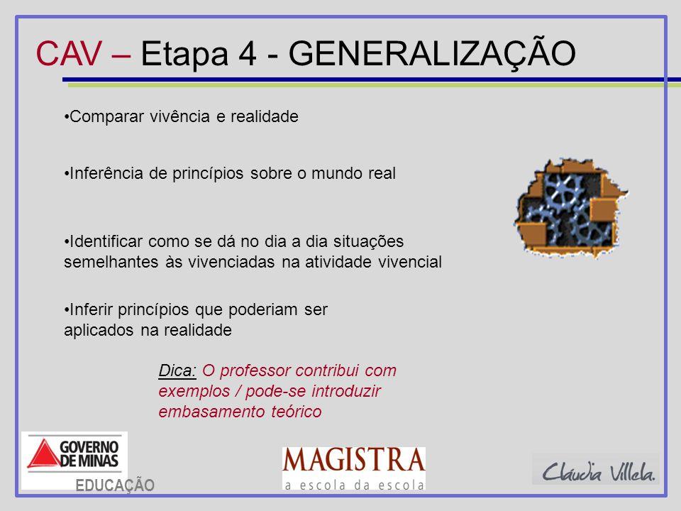 CAV – Etapa 4 - GENERALIZAÇÃO
