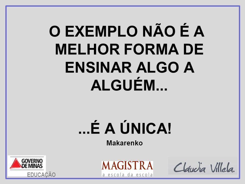 O EXEMPLO NÃO É A MELHOR FORMA DE ENSINAR ALGO A ALGUÉM...