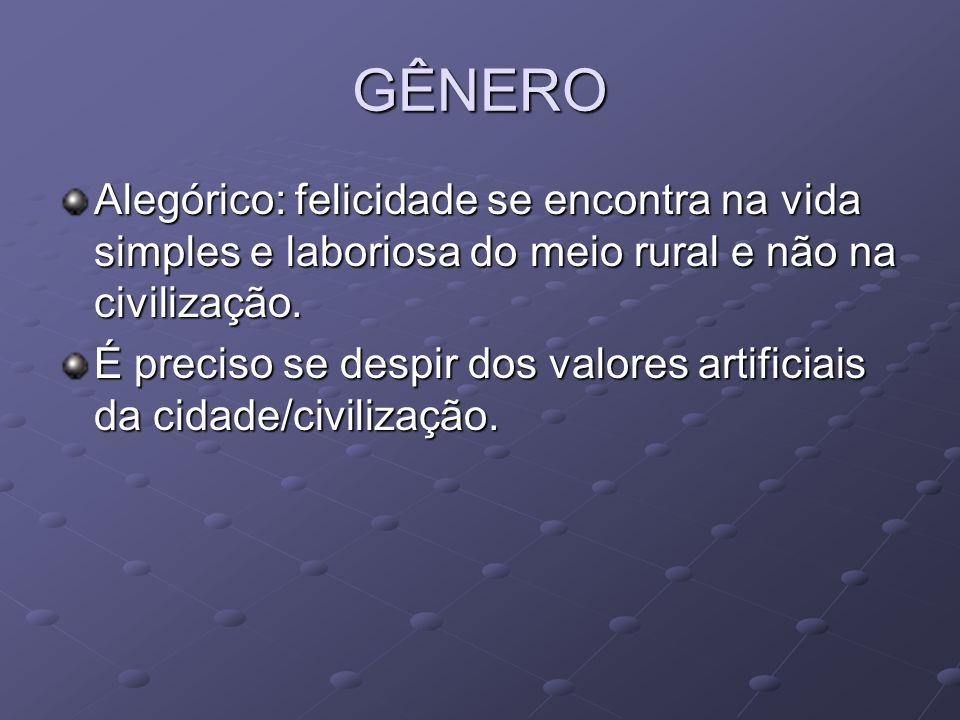 GÊNERO Alegórico: felicidade se encontra na vida simples e laboriosa do meio rural e não na civilização.
