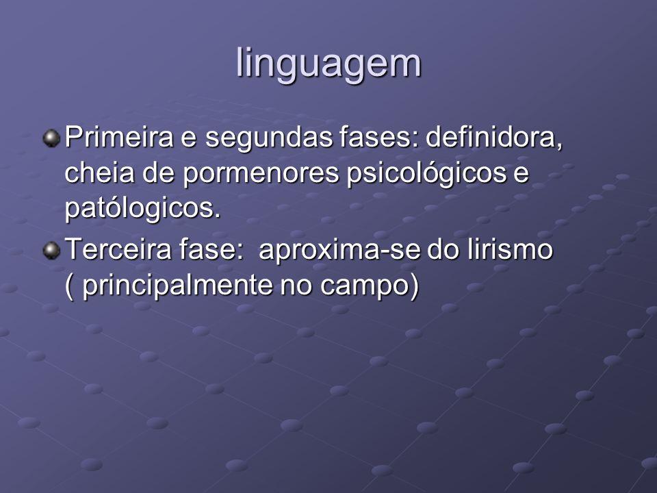 linguagem Primeira e segundas fases: definidora, cheia de pormenores psicológicos e patólogicos.