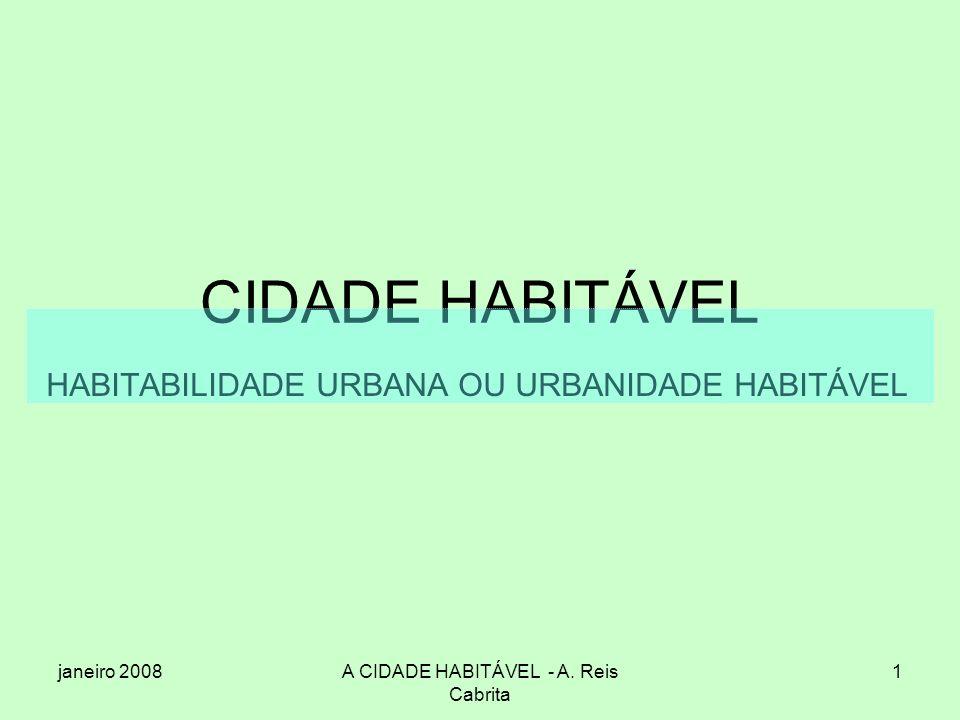 HABITABILIDADE URBANA OU URBANIDADE HABITÁVEL