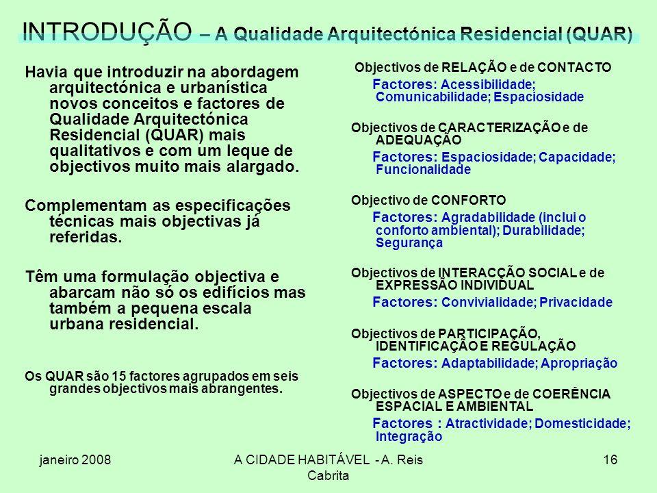 INTRODUÇÃO – A Qualidade Arquitectónica Residencial (QUAR)