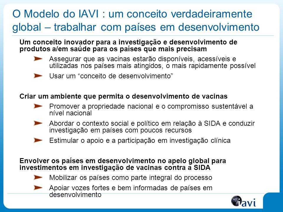 O Modelo do IAVI : um conceito verdadeiramente global – trabalhar com países em desenvolvimento