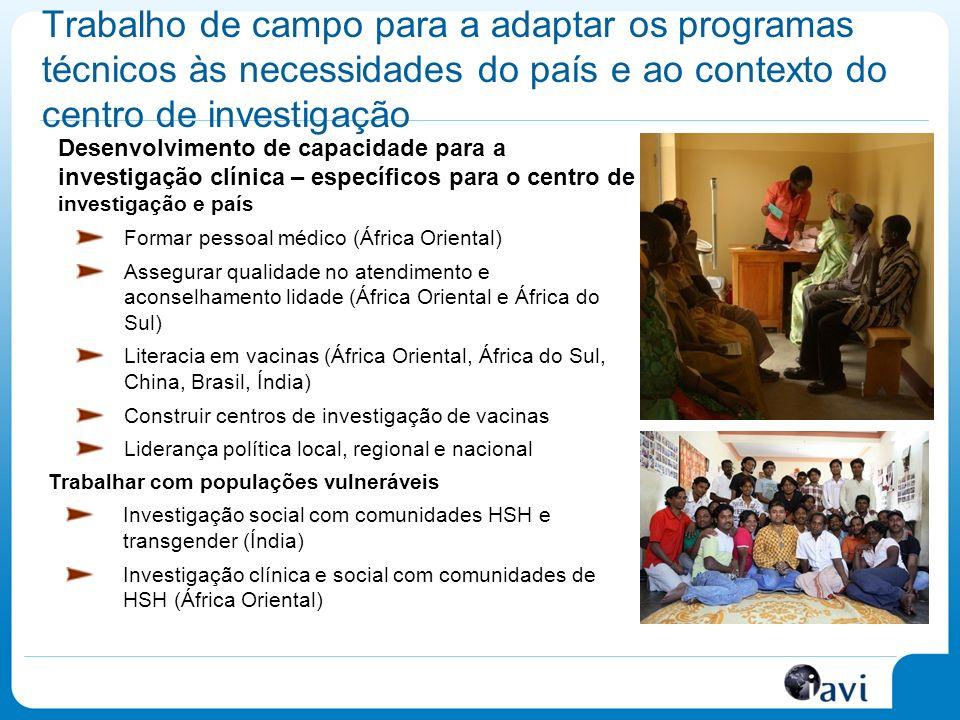 Trabalho de campo para a adaptar os programas técnicos às necessidades do país e ao contexto do centro de investigação