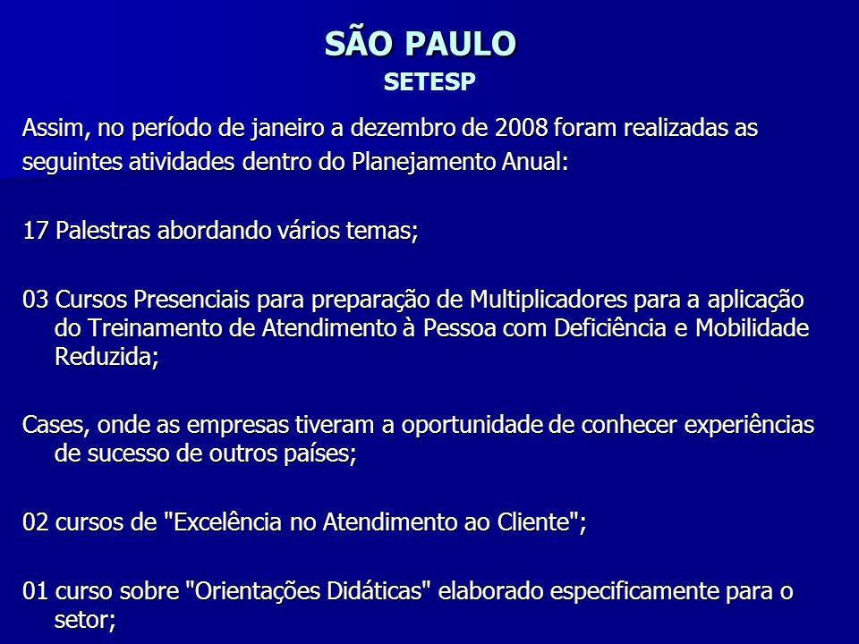 SÃO PAULO SETESP Assim, no período de janeiro a dezembro de 2008 foram realizadas as. seguintes atividades dentro do Planejamento Anual: