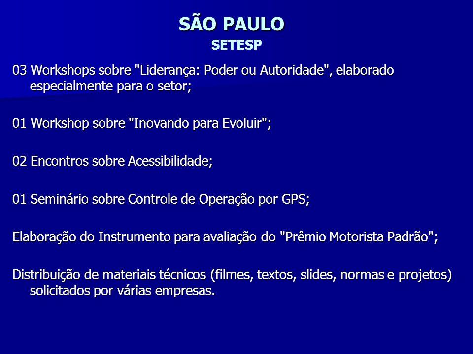 SÃO PAULO SETESP 03 Workshops sobre Liderança: Poder ou Autoridade , elaborado especialmente para o setor;
