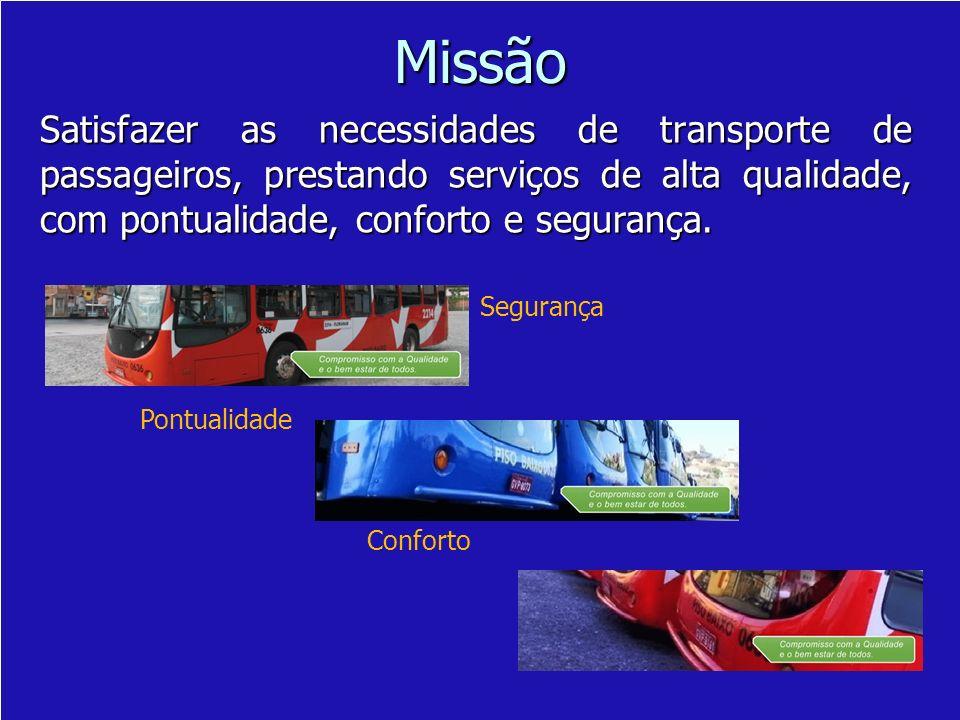 Missão Satisfazer as necessidades de transporte de passageiros, prestando serviços de alta qualidade, com pontualidade, conforto e segurança.