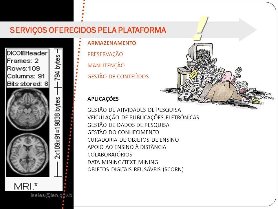 ! SERVIÇOS OFERECIDOS PELA PLATAFORMA ARMAZENAMENTO PRESERVAÇÃO