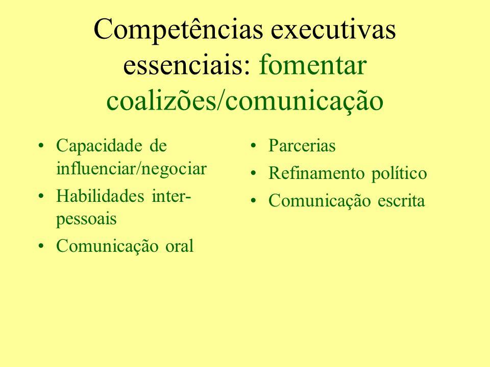 Competências executivas essenciais: fomentar coalizões/comunicação