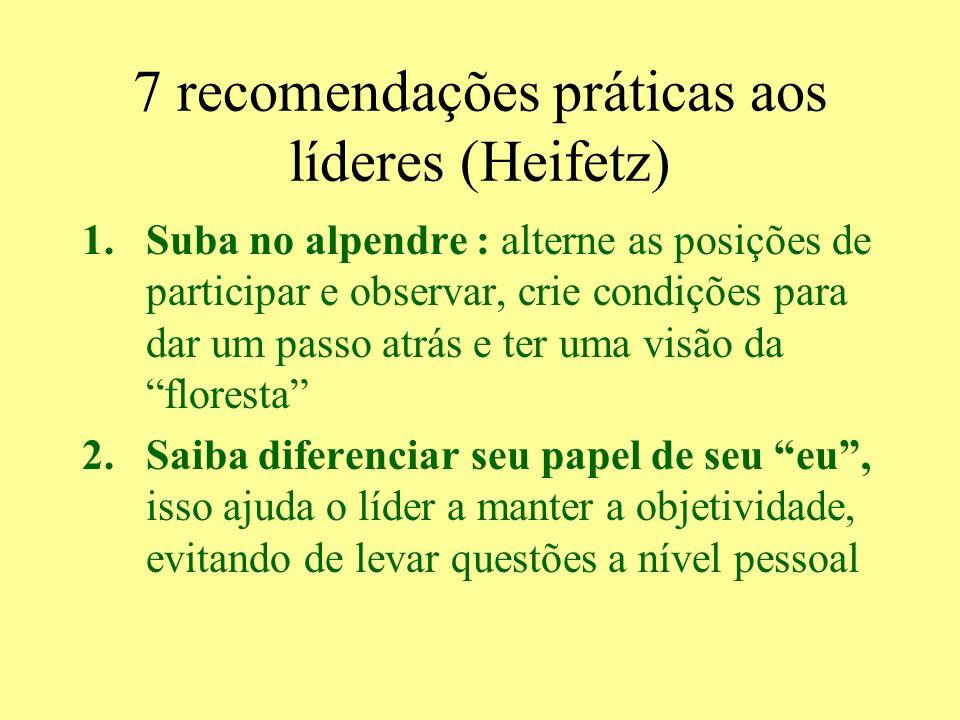 7 recomendações práticas aos líderes (Heifetz)