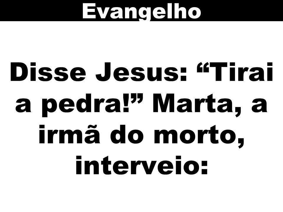 Disse Jesus: Tirai a pedra! Marta, a irmã do morto, interveio:
