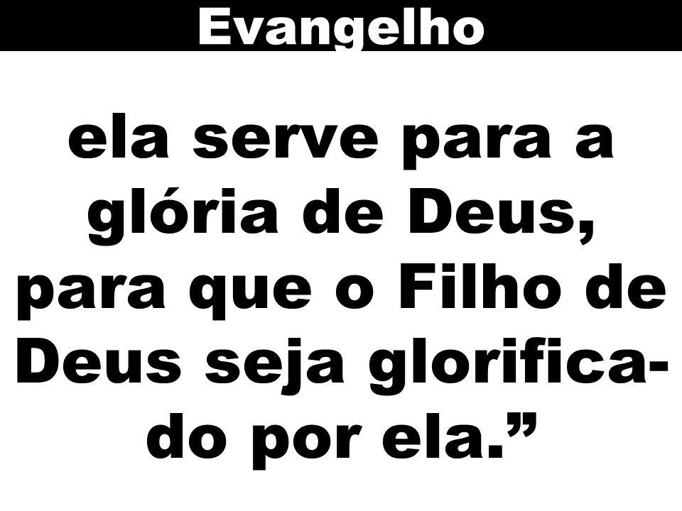 Evangelho ela serve para a glória de Deus, para que o Filho de Deus seja glorifica-do por ela. 60