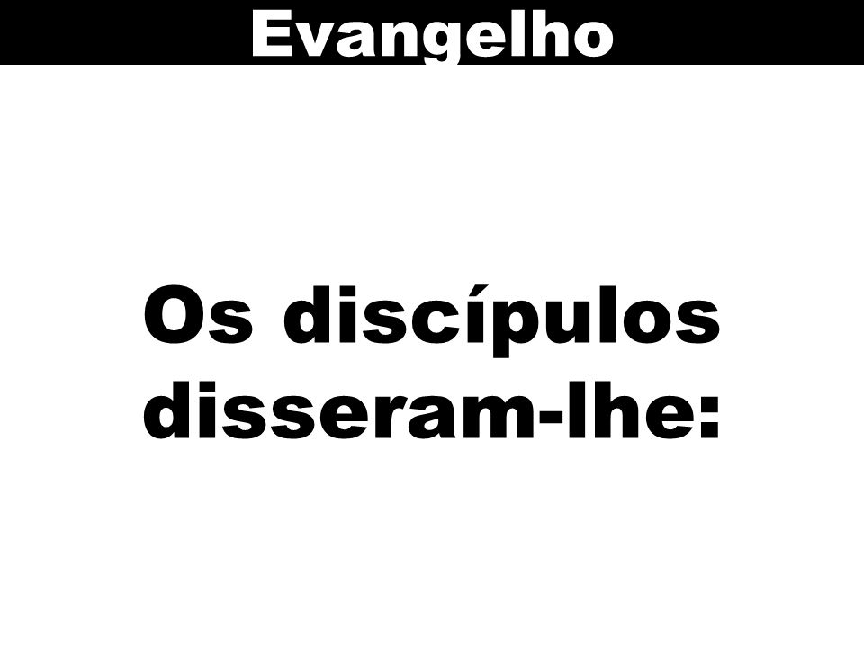 Os discípulos disseram-lhe: