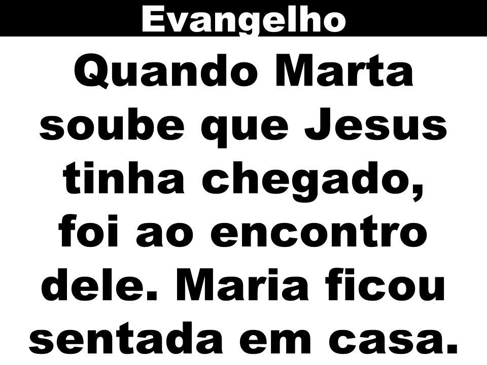 Evangelho Quando Marta soube que Jesus tinha chegado, foi ao encontro dele. Maria ficou sentada em casa.