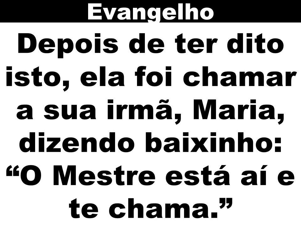 Evangelho Depois de ter dito isto, ela foi chamar a sua irmã, Maria, dizendo baixinho: O Mestre está aí e te chama.