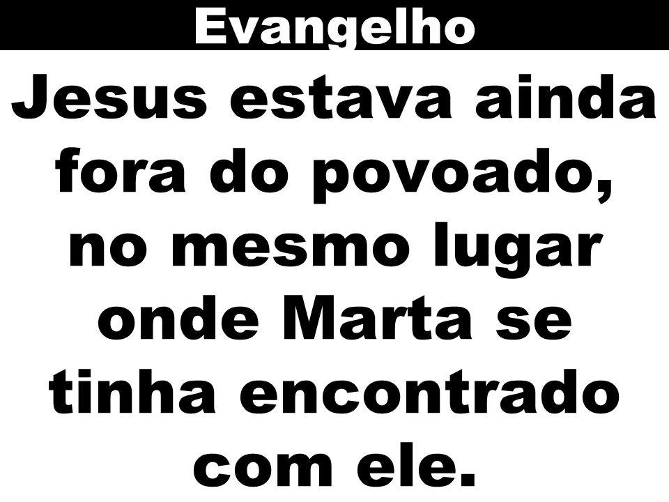 Evangelho Jesus estava ainda fora do povoado, no mesmo lugar onde Marta se tinha encontrado com ele.
