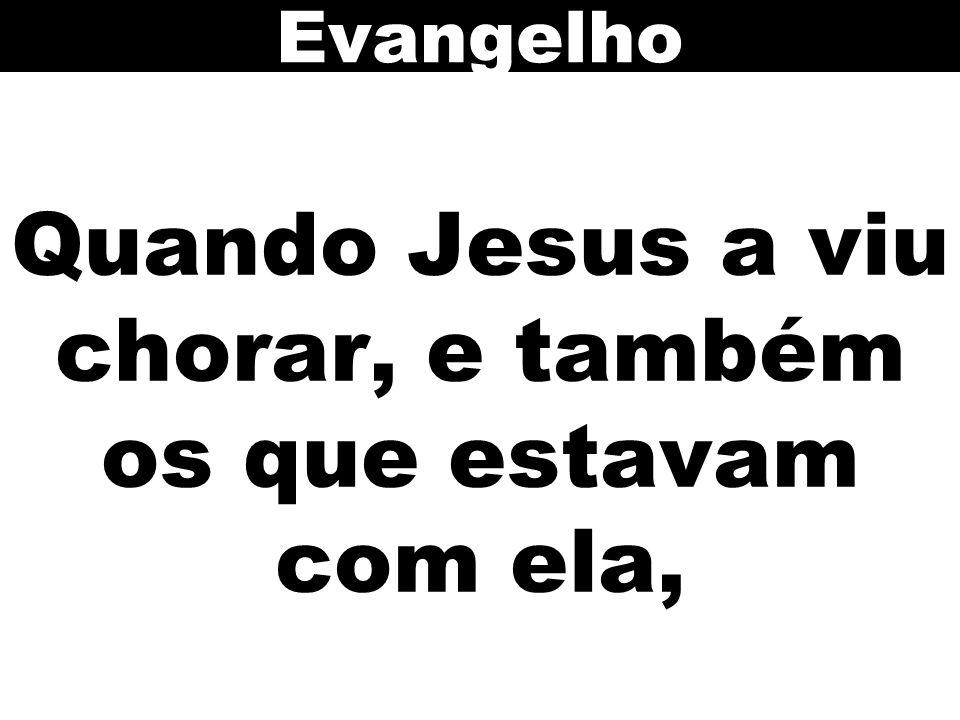 Quando Jesus a viu chorar, e também os que estavam com ela,