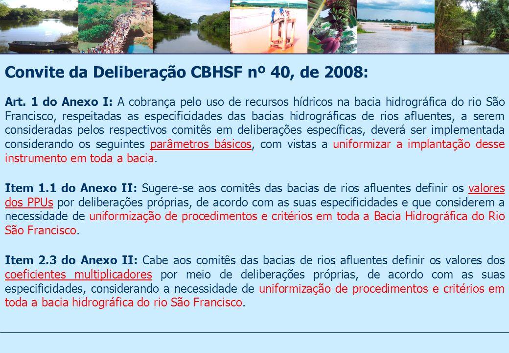 Convite da Deliberação CBHSF nº 40, de 2008: