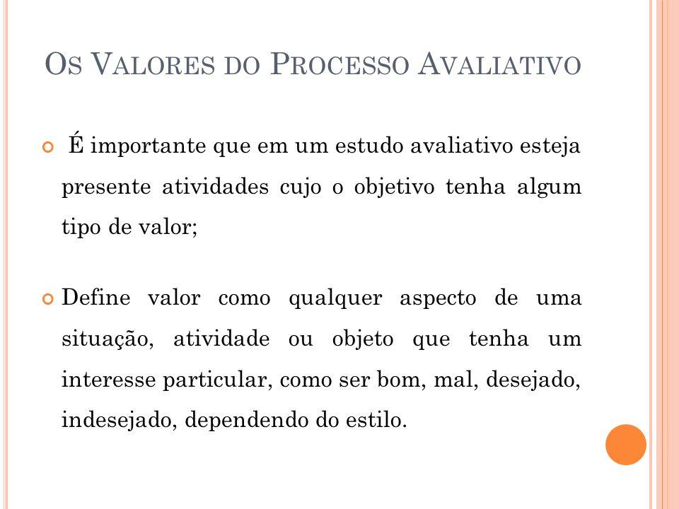 Os Valores do Processo Avaliativo