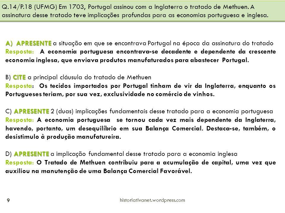B) CITE a principal cláusula do tratado de Methuen