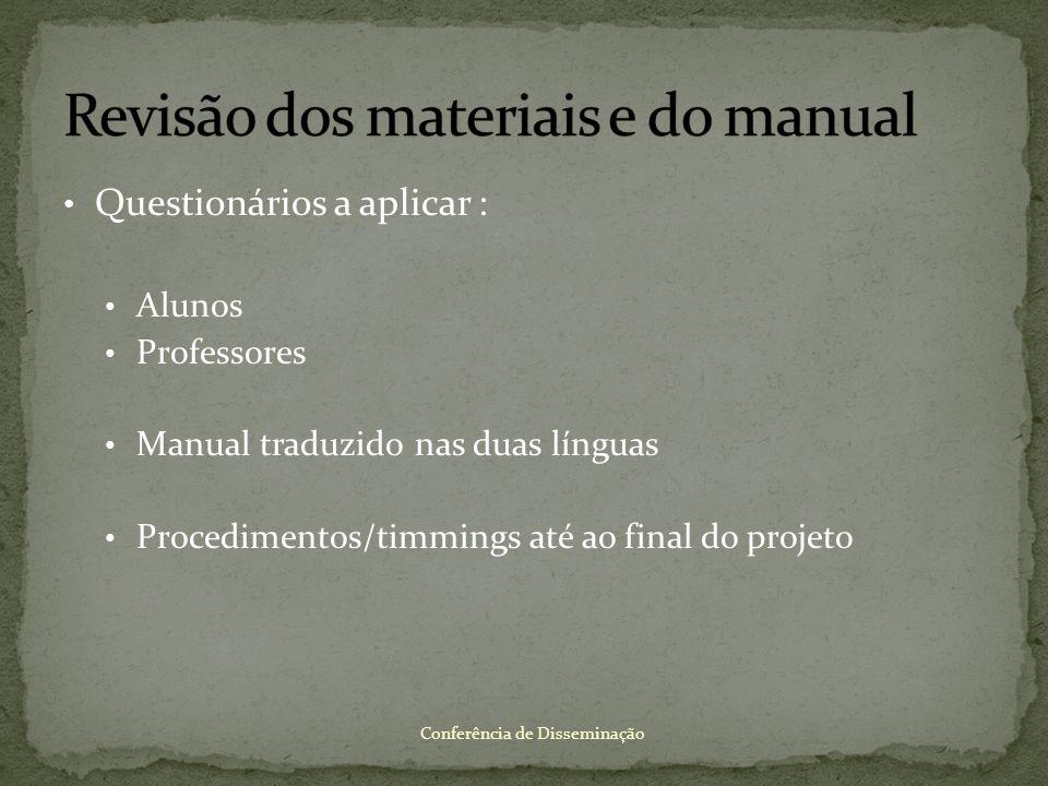 Revisão dos materiais e do manual