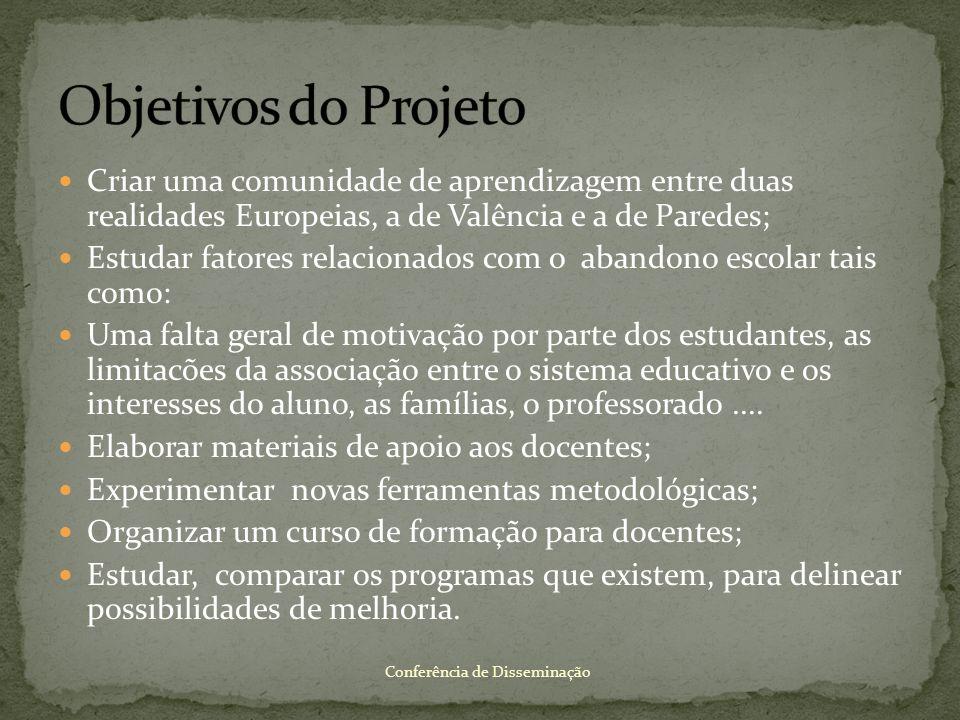 Objetivos do Projeto Criar uma comunidade de aprendizagem entre duas realidades Europeias, a de Valência e a de Paredes;