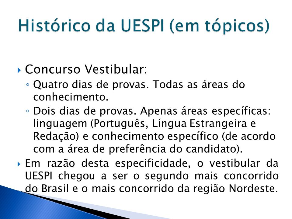 Histórico da UESPI (em tópicos)