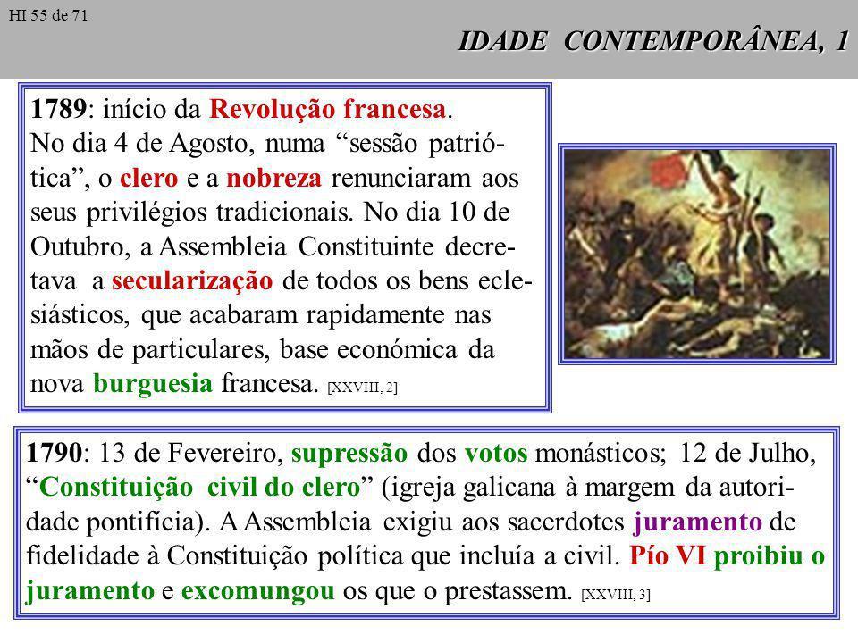 1789: início da Revolução francesa.