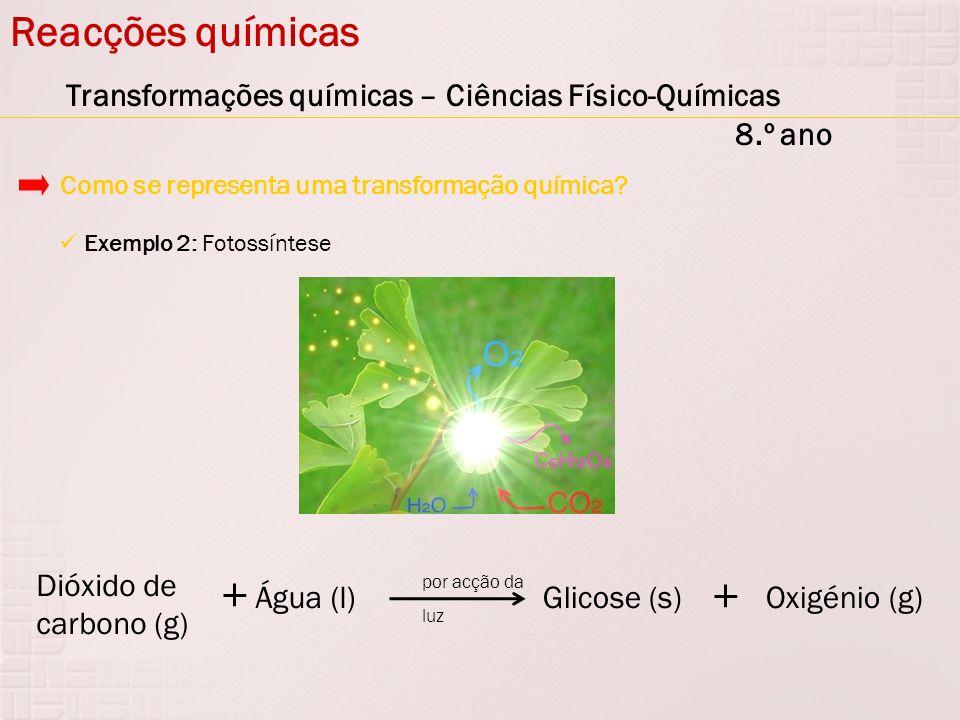 Reacções químicas Transformações químicas – Ciências Físico-Químicas 8.º ano. Como se representa uma transformação química