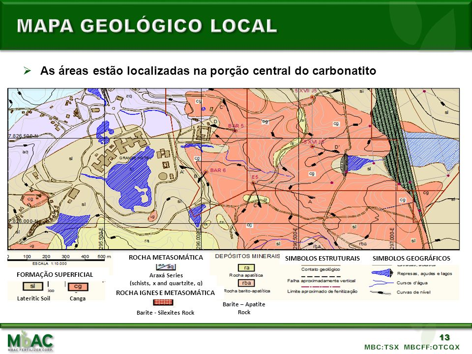 MAPA GEOLÓGICO LOCAL As áreas estão localizadas na porção central do carbonatito. MINERAL DEPOSITS.