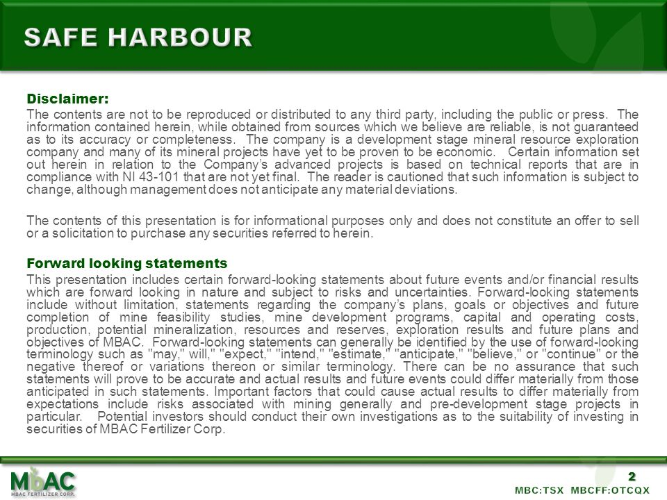 Safe harbour Disclaimer: