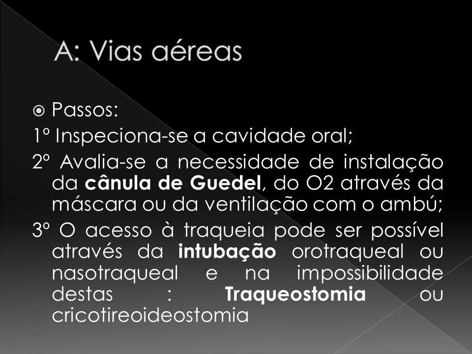 A: Vias aéreas Passos: 1º Inspeciona-se a cavidade oral;