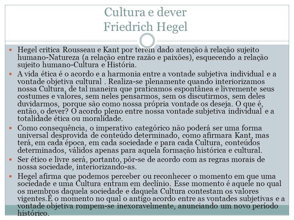 Cultura e dever Friedrich Hegel