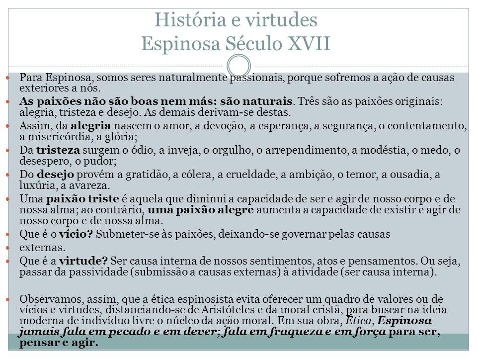 História e virtudes Espinosa Século XVII