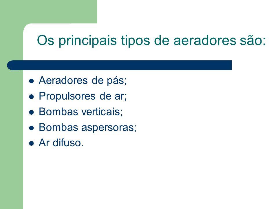 Os principais tipos de aeradores são: