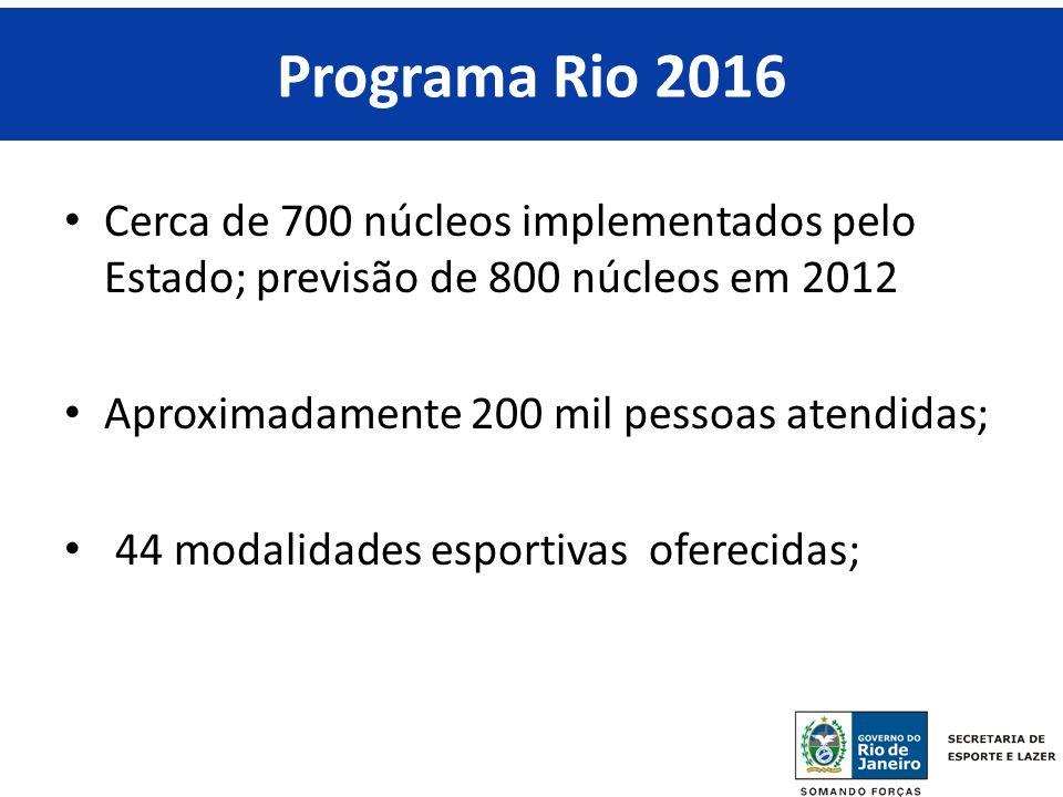 Programa Rio 2016 RIO 2016. Cerca de 700 núcleos implementados pelo Estado; previsão de 800 núcleos em 2012.