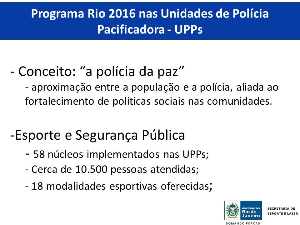 Programa Rio 2016 nas Unidades de Polícia Pacificadora - UPPs