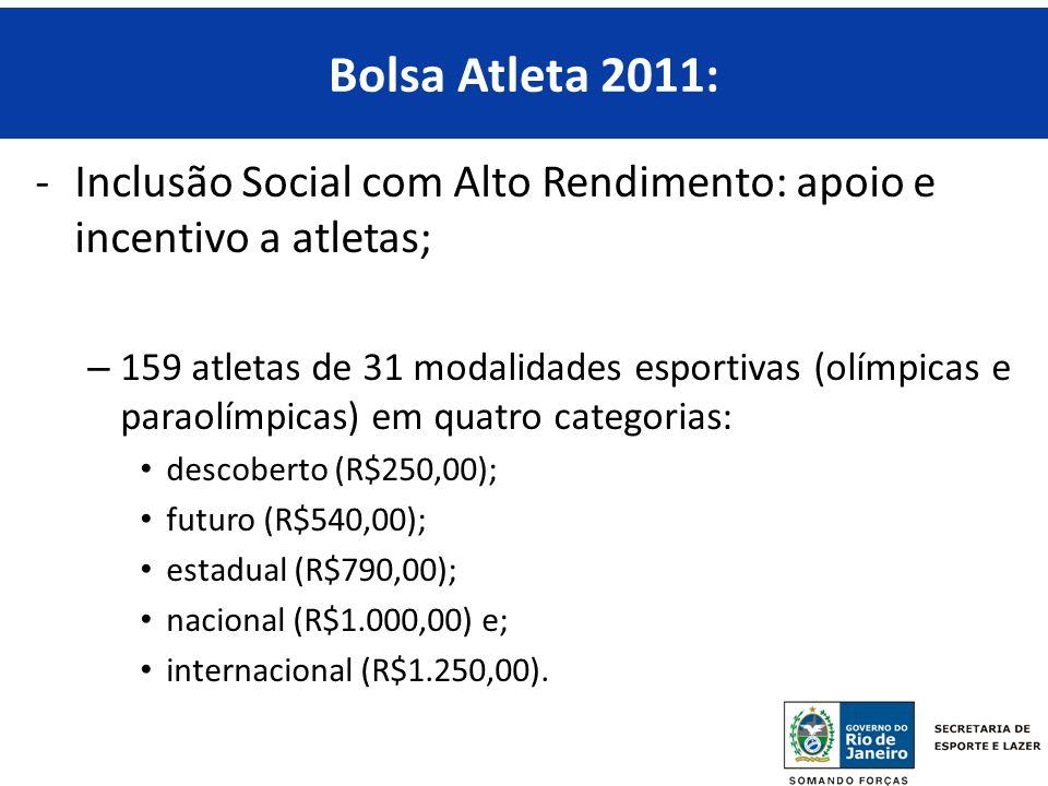 Bolsa Atleta 2011: Inclusão Social com Alto Rendimento: apoio e incentivo a atletas;