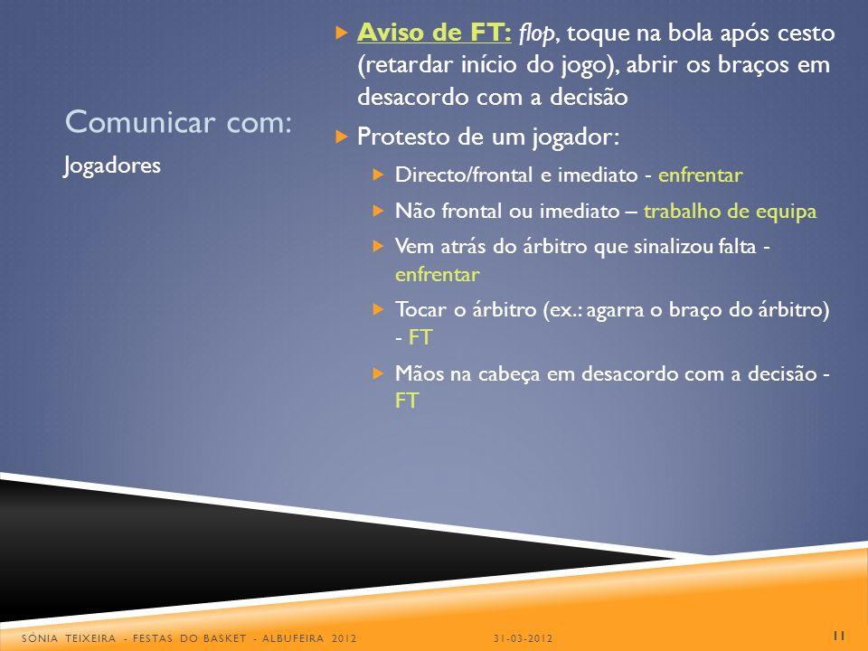 Aviso de FT: flop, toque na bola após cesto (retardar início do jogo), abrir os braços em desacordo com a decisão