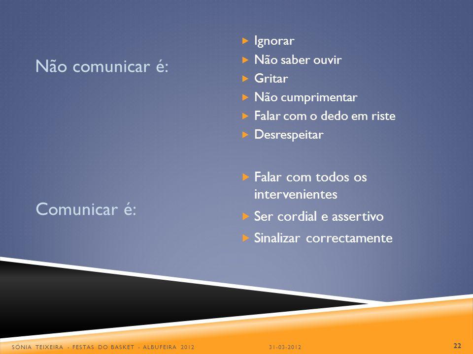Não comunicar é: Comunicar é: Falar com todos os intervenientes