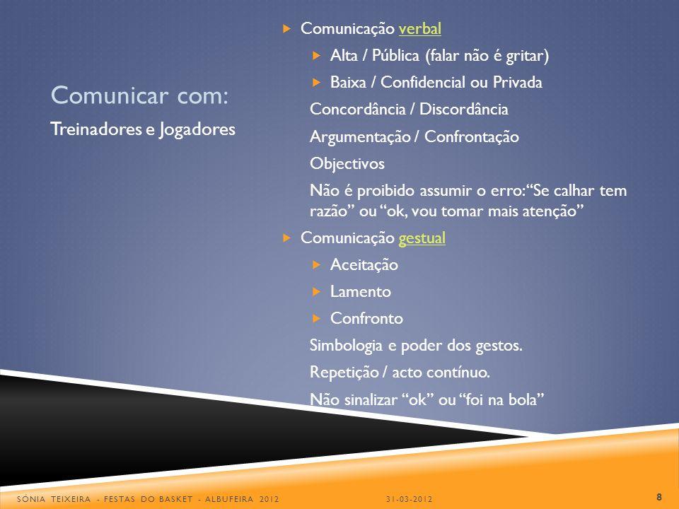 Comunicar com: Treinadores e Jogadores Comunicação verbal