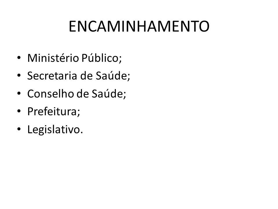 ENCAMINHAMENTO Ministério Público; Secretaria de Saúde;