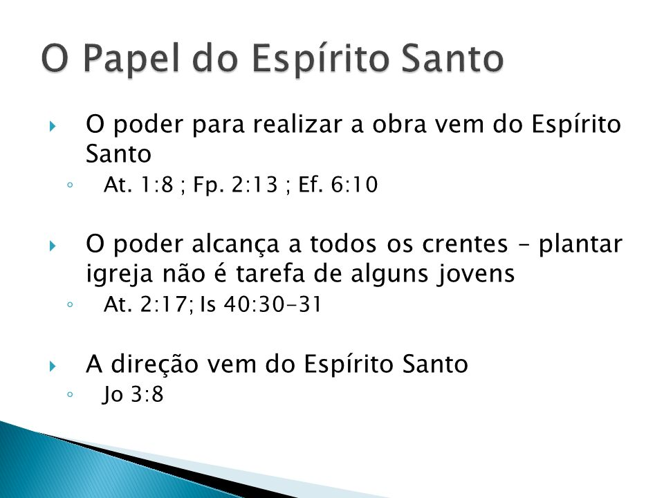 O Papel do Espírito Santo