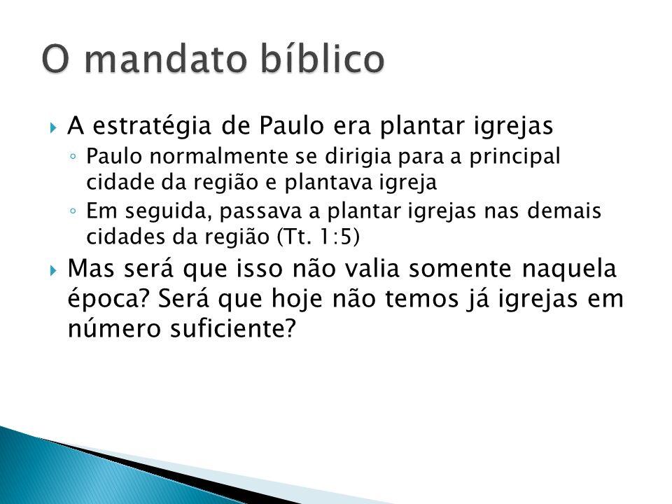 O mandato bíblico A estratégia de Paulo era plantar igrejas
