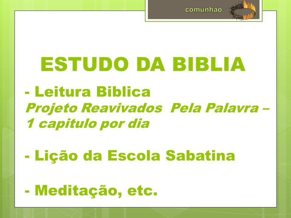 ESTUDO DA BIBLIA - Leitura Biblica Projeto Reavivados Pela Palavra – 1 capitulo por dia - Lição da Escola Sabatina - Meditação, etc.