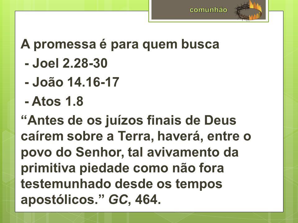 A promessa é para quem busca - Joel 2. 28-30 - João 14. 16-17 - Atos 1